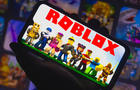 In this print painting Roblox trademark seen displayed on a