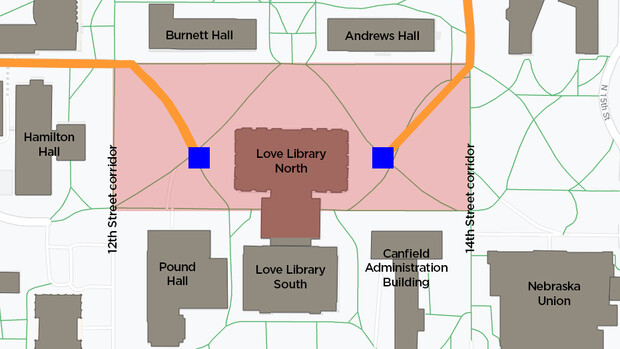 the Love Library North devise will route trade by a heart of City Campus this summer. A blockade will retard a site (indicated in red), stretching from sidewalks north and south of Love Library North (including a pathway underneath a Love Library Link) and from a 12th and 14th travel corridors to a west and east. It will embody dual derrick sites (blue) and drives (orange) that will be used to mislay element from a site.