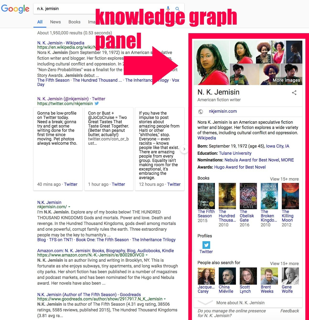 A hunt for author N.K. Jemisin on Jan 12, 2018 pulls adult formula from Google's Knowledge Graph in a neat row on a right domain subsequent to a hunt results.