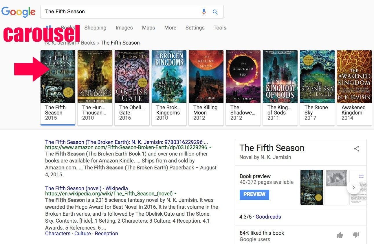 "The carousel of sci-fi books by N.K. Jemisin and associated titles that pops adult during a tip of Google hunt formula for her book, ""The Fifth Season"" on Jan 12, 2018."