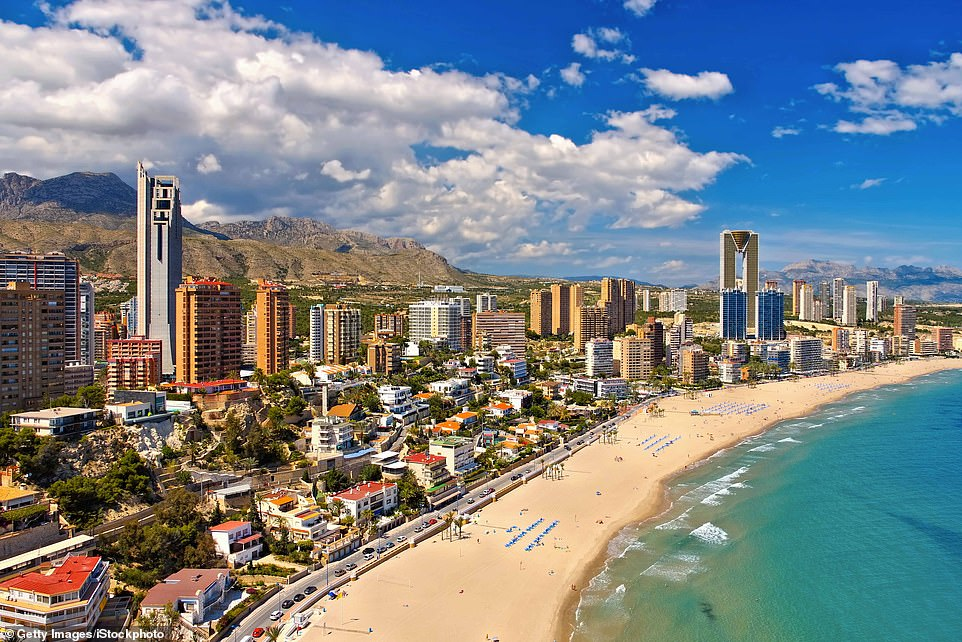 Spain has started to giveaway to tourists after being one of a misfortune influenced countries from a bug. Pictured: Benidorm
