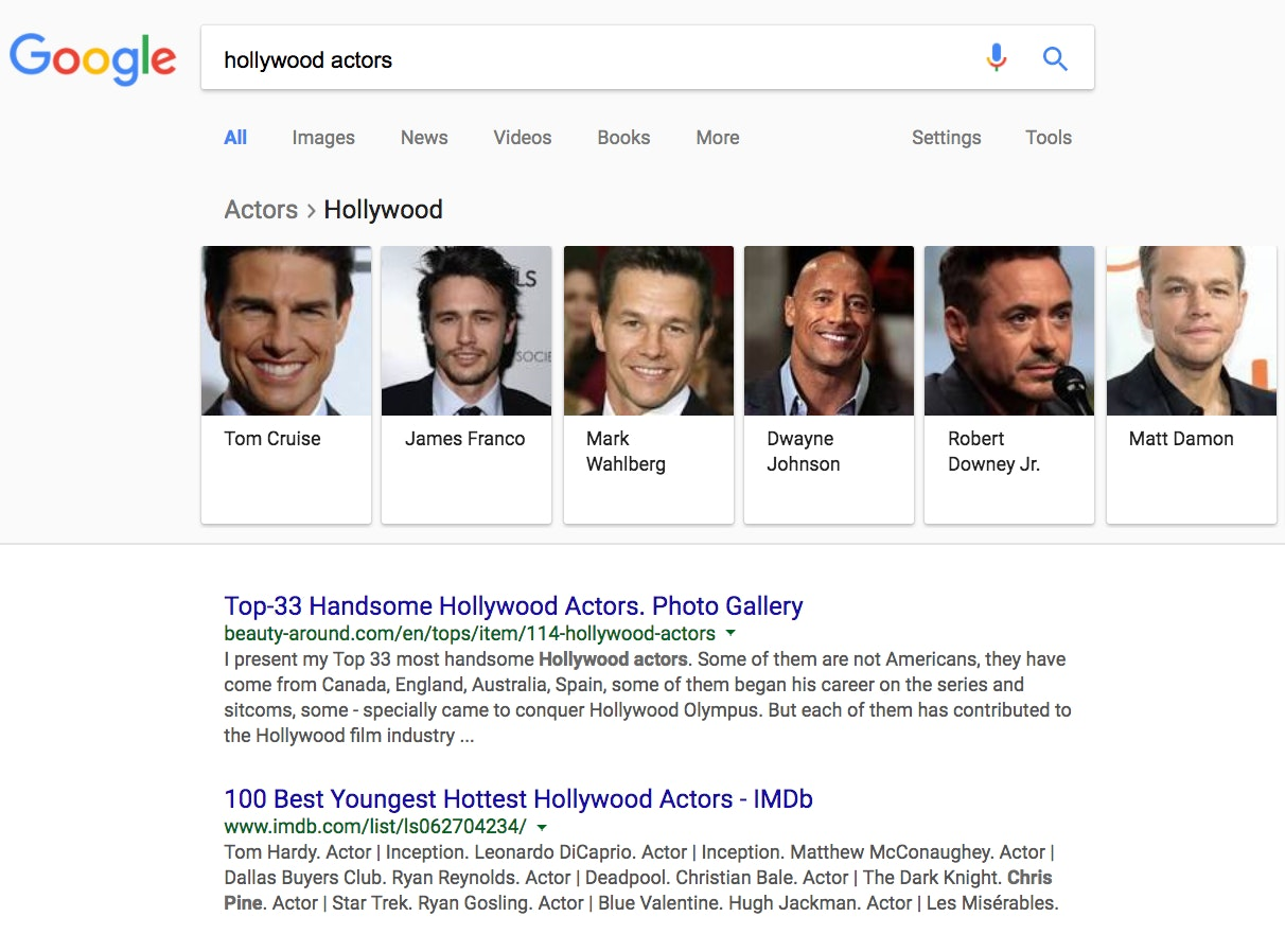 "A hunt for ""Hollywood actors"" on Jan 12, 2018 turns adult a carousel in no apparent sequence that starts with Tom Cruise and ends with Humphrey Bogart."